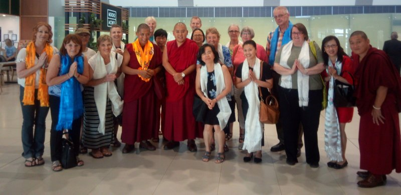 Welcome Group with His Eminence Ling Rinpoche in Perth Airport on 20 Mar 2018